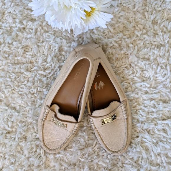 Coach Shoes - Coach WMNs Cream Fredrica Leather Loafers SZ 9.5B